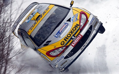 Peugeot 206 World Rally Championship car on two wheels